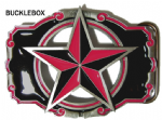NAUTICAL STAR (CUT OUT) PINK/BLACK Belt Buckle + display stand